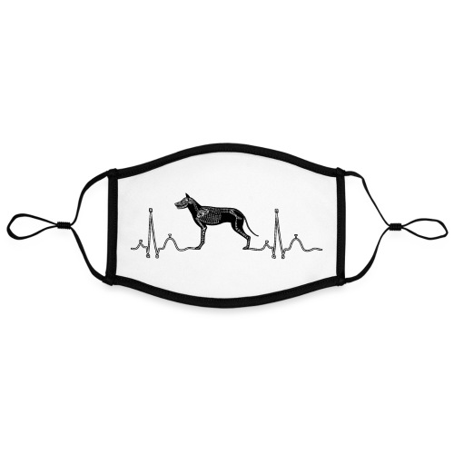 ECG met hond - Contrasterend mondkapje, instelbaar (Large)