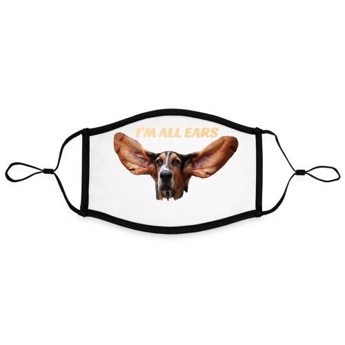 Mon basset est toutes les oreilles - Masque contrasté, réglable (taille L)