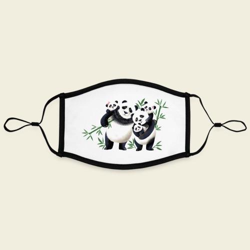 Pandafamilie drei Kinder - Kontrastmaske, einstellbar (Large)