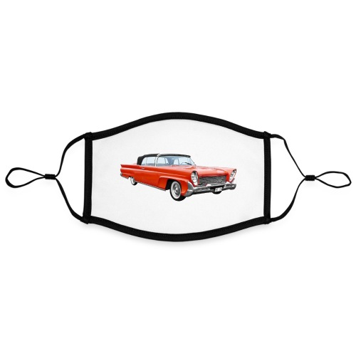 Red Classic Car - Contrasterend mondkapje, instelbaar (Large)