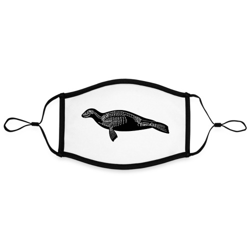 Robben skelet - Contrasterend mondkapje, instelbaar (Large)