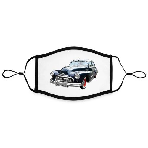 Classic Car. Buick zwart. - Contrasterend mondkapje, instelbaar (Large)