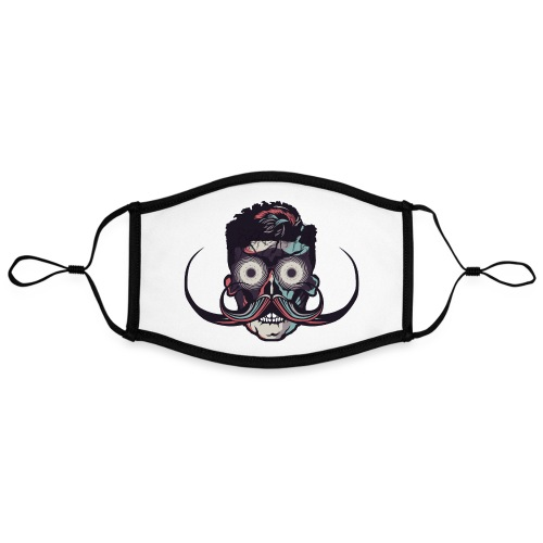 hipster tete de mort crane barbu skull moustache b - Masque contrasté, réglable (taille L)