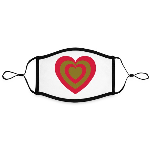 cuore Rosso-Verde - Mascherina in contrasto cromatico, regolabile (grande)