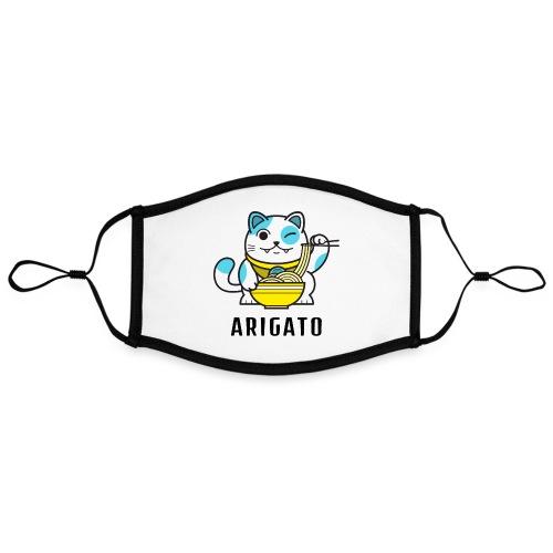 Mascarillas Ari Gato Ramen | Kawaii Otaku | Japón - Mascarilla contraste, ajustable (grande)