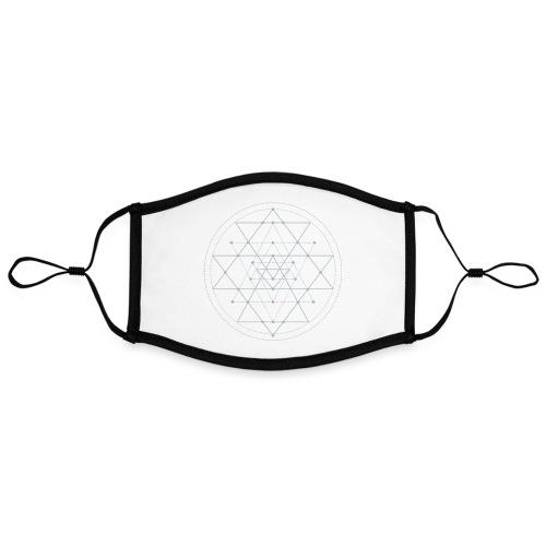 Harmaa geometrinen Shri Yantra -kuvio - Kontrastivärinen maski, säädettävä (large)