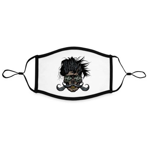 hipster skull tete de mort crane barbu moustache - Masque contrasté, réglable (taille L)