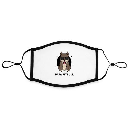 Mascarilla Papá PitBull | Humor Canino | Perros - Mascarilla contraste, ajustable (grande)