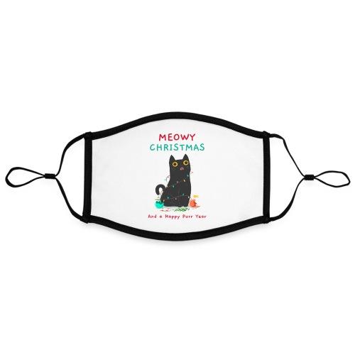 Gato Negro Navidad | Meowy Christmas - Mascarilla contraste, ajustable (grande)