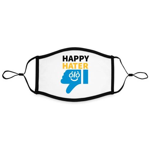 Happy Hater | Humor | Redes Sociales - Mascarilla contraste, ajustable (grande)