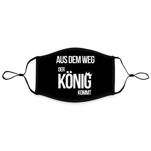 Der König kommt - lustiger Spruch Corona Maske - Kontrastmaske, einstellbar (Large)