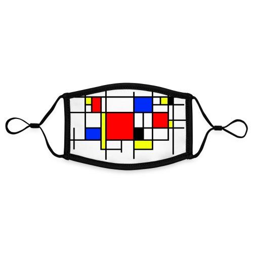 Mondriaan mondkapje, Nederlands kunstschilder. - Contrasterend mondkapje, instelbaar (Small)
