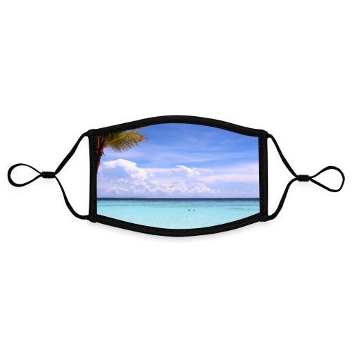 Traumhafte Malediven Strand Palme Meer Wolken Blau - Kontrastmaske, einstellbar (Small)