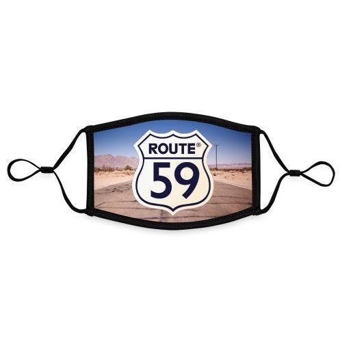 Route 59 met achtergrond - Contrasterend mondkapje, instelbaar (Small)