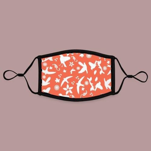 Motif oiseaux, fleurs et plumes nature fond orange - Masque contrasté, réglable (taille S)