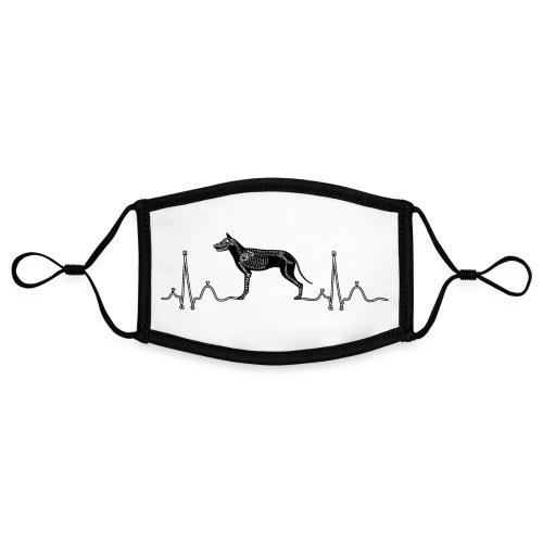 ECG met hond - Contrasterend mondkapje, instelbaar (Small)