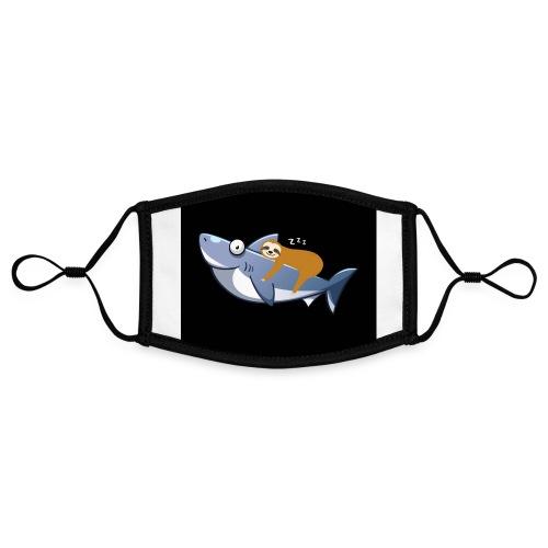 Sloth Riding Shark Funny Trend - Kontrastmaske, einstellbar (Small)