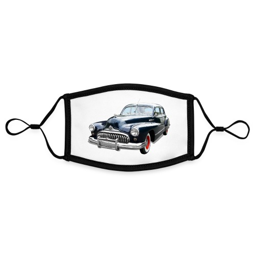 Classic Car. Buick zwart. - Contrasterend mondkapje, instelbaar (Small)