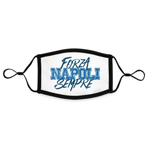 Forza Napoli Sempre - Mascherina in contrasto cromatico, regolabile (piccola)
