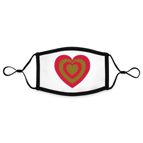 cuore Rosso-Verde - Mascherina in contrasto cromatico, regolabile (piccola)