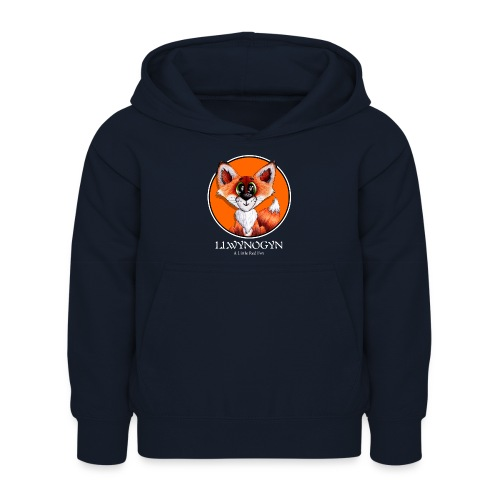 llwynogyn - a little red fox (white) - Lasten huppari
