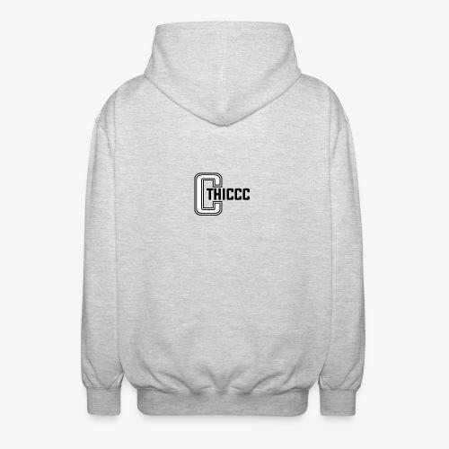 thiccc logo WHITE and BLACK - Unisex Hooded Jacket