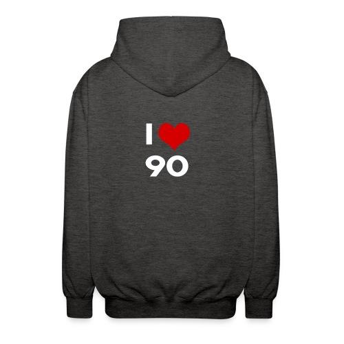 I love 90 - Felpa unisex con cappuccio