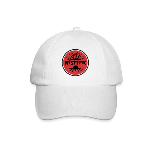 Sort logo på rød baggrund med sort ring - Baseballkasket