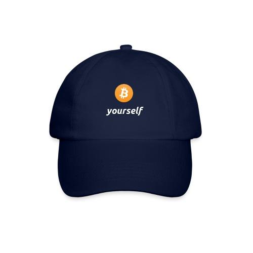 cryptocool b yourself white font -bitcoin logo - Baseballcap