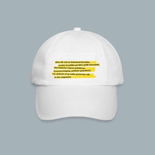 Nederlandse Grondwet T-Shirt - Artikel 1 - Baseballcap