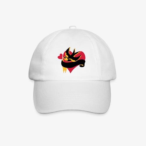 retro tattoo bird with heart - Baseball Cap