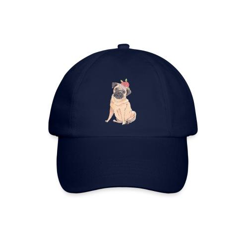 Pug with flower - Baseballkasket