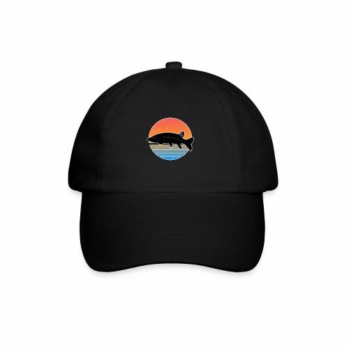 Retro Hecht Angeln Fisch Wurm Raubfisch Shirt - Baseballkappe