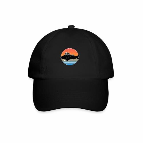 Retro Barsch Angeln Fisch Wurm Raubfisch Shirt - Baseballkappe
