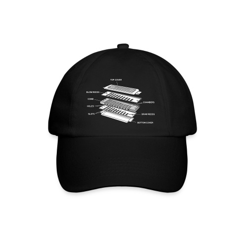 Exploded harmonica - white text - Baseball Cap