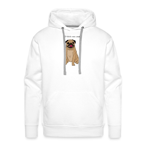 2girls one pug - Sweat-shirt à capuche Premium pour hommes