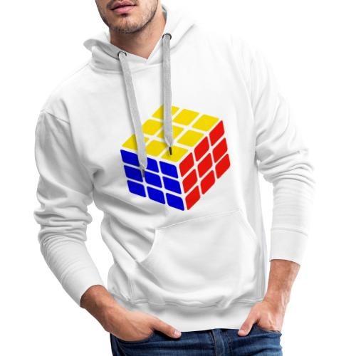 blue yellow red rubik's cube print - Men's Premium Hoodie