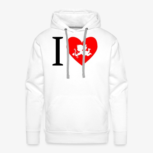 cupidon, rouge blanc noir, I love - Sweat-shirt à capuche Premium pour hommes
