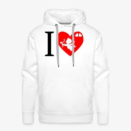 cupidon, I love - Sweat-shirt à capuche Premium pour hommes