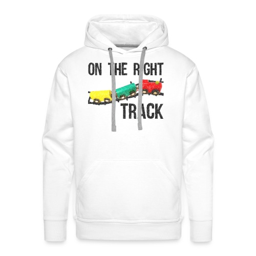 On The Right Track Positive Design Train on Track. - Men's Premium Hoodie