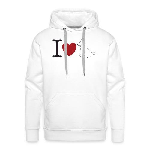 I LOVE White Dog - Bluza męska Premium z kapturem