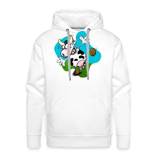 Mucca - Felpa con cappuccio premium da uomo