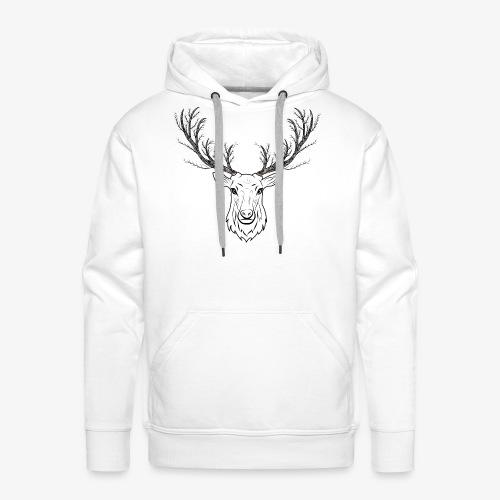 Stag with Tree Antlers - Men's Premium Hoodie