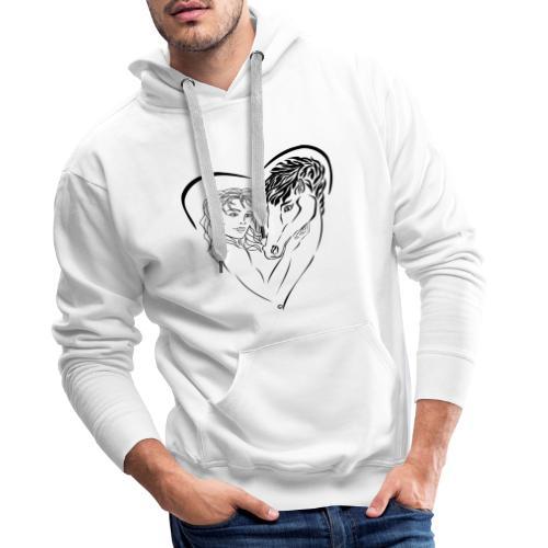 Cheval cavalière passion ❤ FC - Sweat-shirt à capuche Premium pour hommes