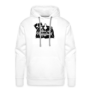 Alice in Nappyland TypographyWhite with background - Men's Premium Hoodie