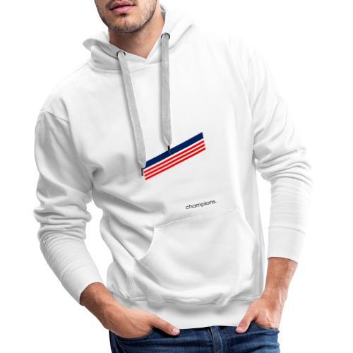 Champions Triple Bande Rouge et Bleu - Sweat-shirt à capuche Premium pour hommes