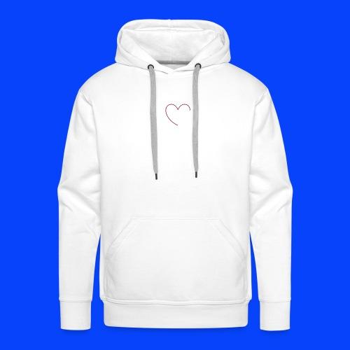 t-shirt bianca con cuore - Felpa con cappuccio premium da uomo