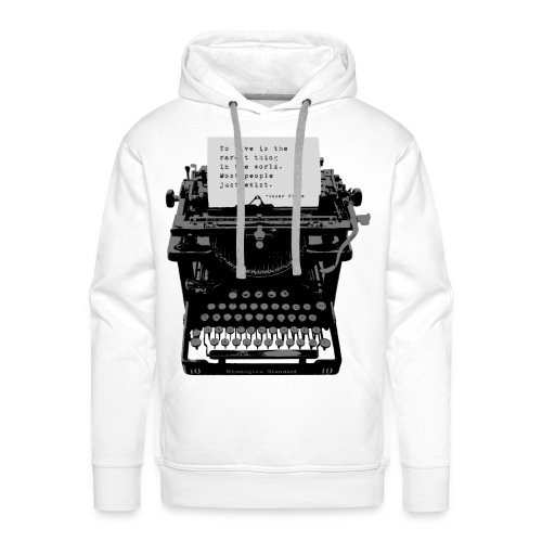 Oscar Wilde Quote on Old Remington 10 Typewriter - Men's Premium Hoodie