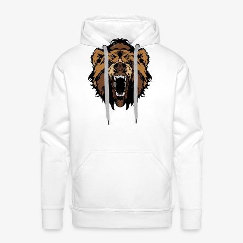 oso grizzly mascota cabeza vectorial - Sudadera con capucha premium para hombre