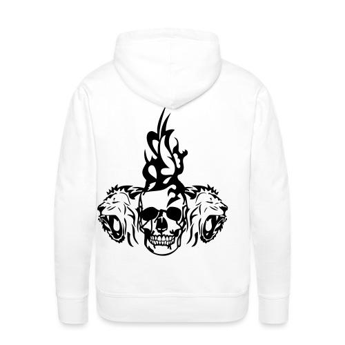 tete mort dead skull tribal lion - Sweat-shirt à capuche Premium pour hommes